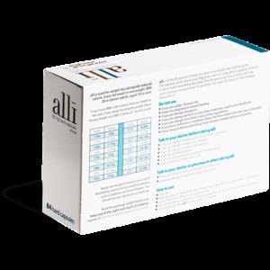 Alli tabletten achterkant verpakking