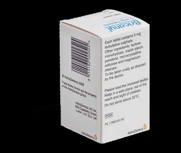 Bricanyl tabletten verpakking achterkant
