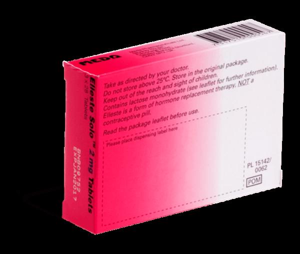 Elleste Solo 2mg achterkant verpakking