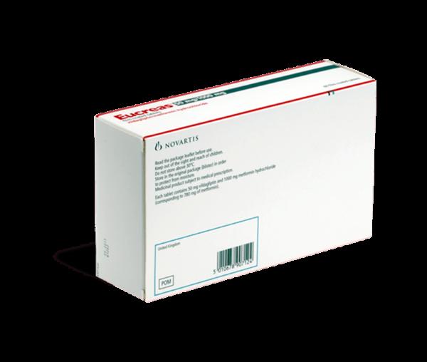 Eucreas 1000 mg achterkant verpakking