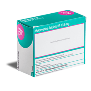 Mebeverine 135 mg achterkant verpakking
