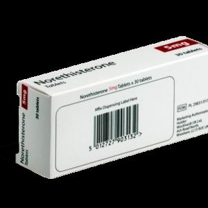 Norethisterone 5 mg achterkant verpakking
