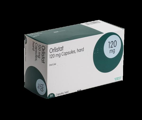 Orlistat 120 mg voorkant verpakking