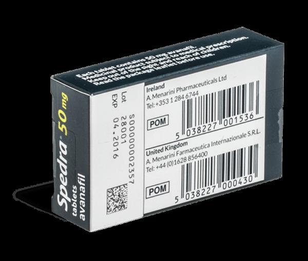 Spedra 50 mg achterkant verpakking