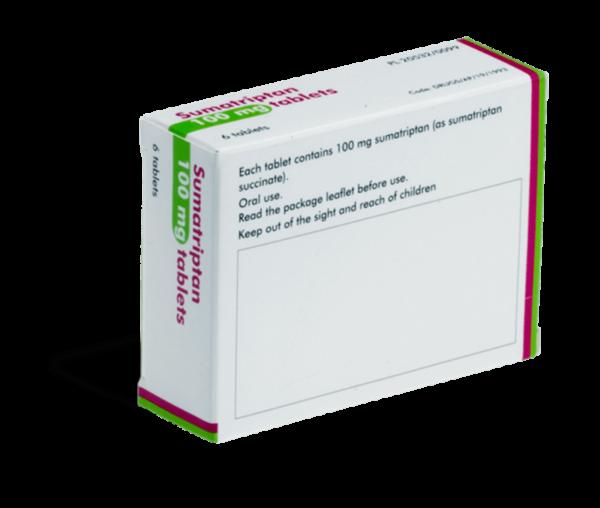 Sumatriptan 100 mg achterkant verpakking